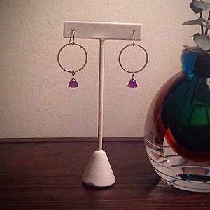 Jewelry - Genuine Amethyst, Sterling Vermeil pierced earring